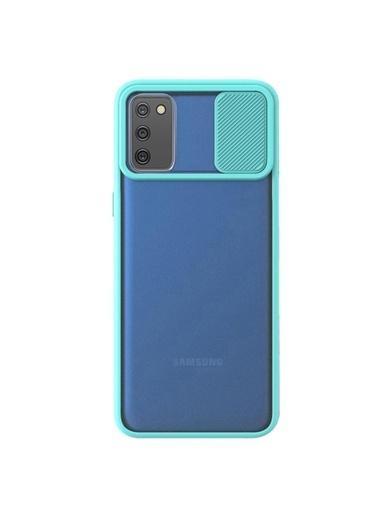 Microsonic Samsung Galaxy A02S Kılıf Slide Camera Lens Protection Kırmızı Turkuaz